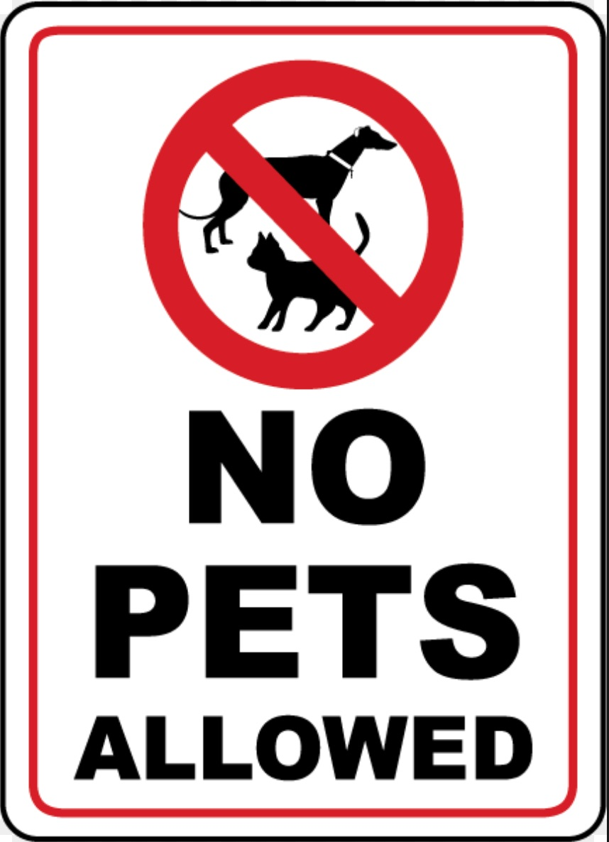 This is a photo of Clever No Pets Allowed Sign Free Printable